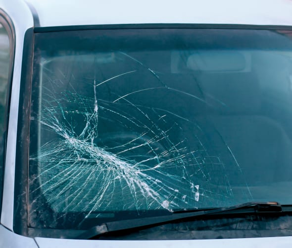 A broken windshield that a AAA Member can get repaired at Safelite