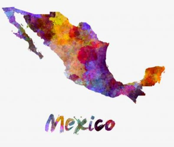 colorful map image of Mexico