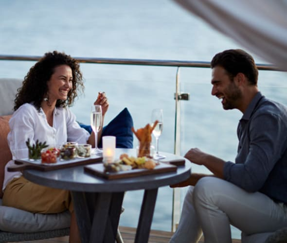 couple glamping on a celebrity ship