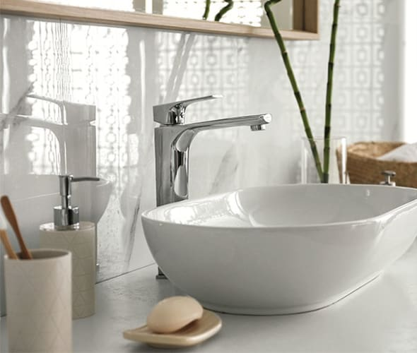 A clean and sanitized bathroom sink