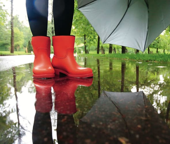 Red rain boots in a puddle