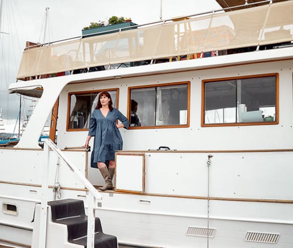Travel writer Freda Moon on her houseboat