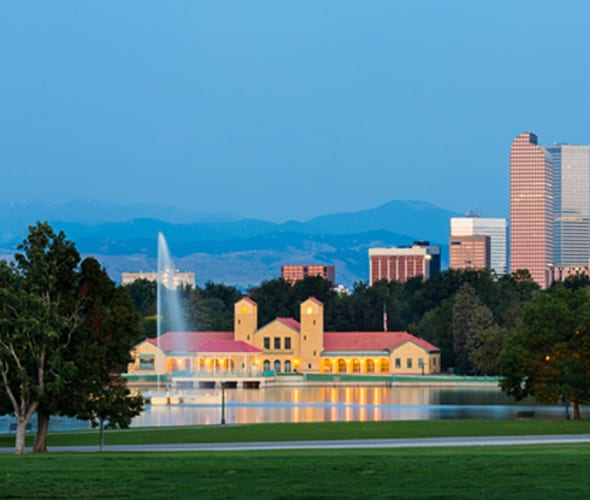 city skyline of denver, colorado with fountain, Boathouse and Ferril Lake