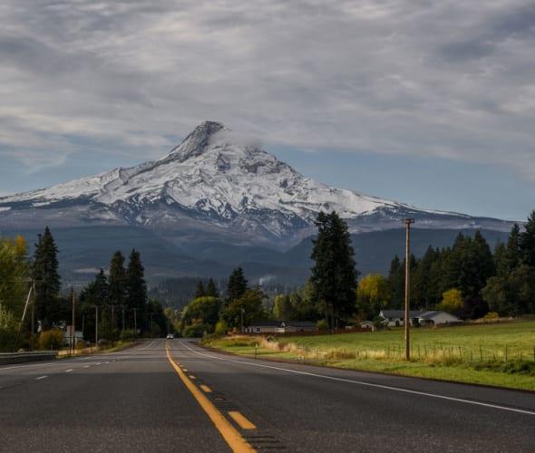 highway in front of Mount Hood, Oregon