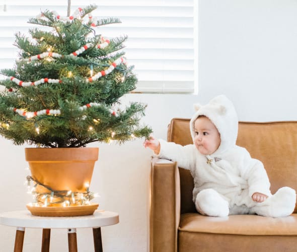 A baby on a leather couch reaches out to touch a tabletop Christmas tree.