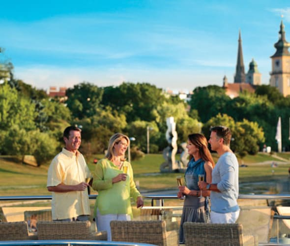 drinking wine on the sundeck of an amawaterways ship