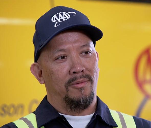 AAA motorcycle roadside service technician Douglas Chew