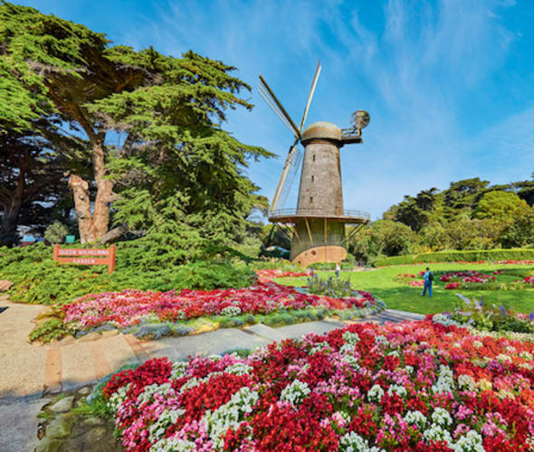 View of a windmill in Golden Gate Park, San Francisco, California