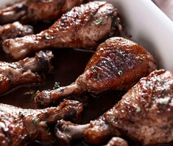 chicken legs in baking dish