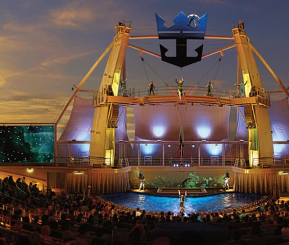 performers in aquatheater on royal caribbean cruise