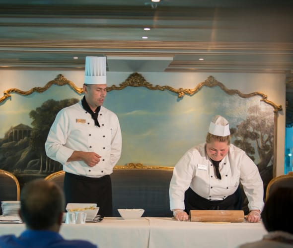 baking demonstration on a uniworld river cruise