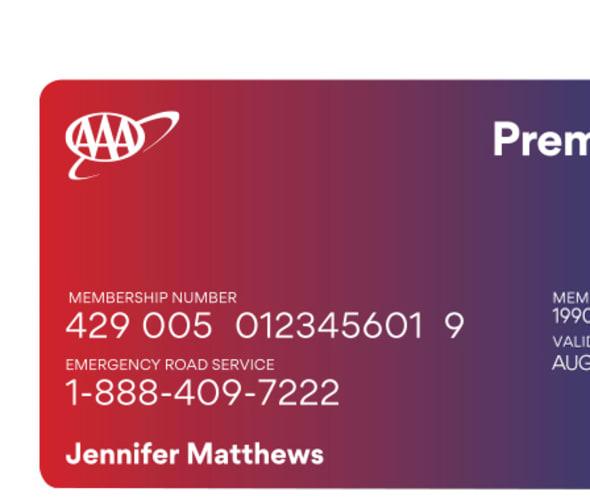 Example of AAA Premier Membership Card showing Members receive maximum travel benefits