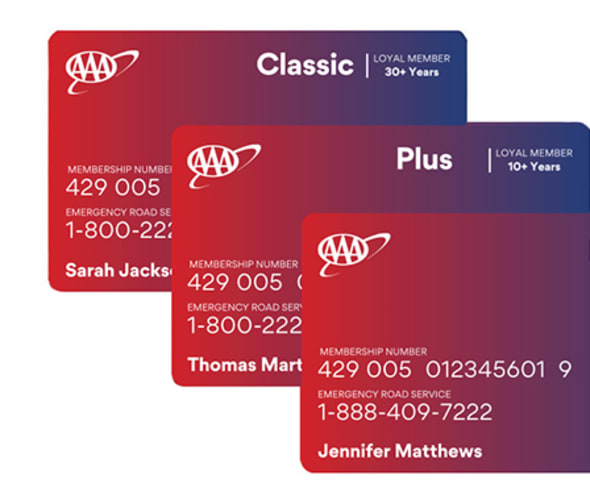 Example of all AAA Membership cards