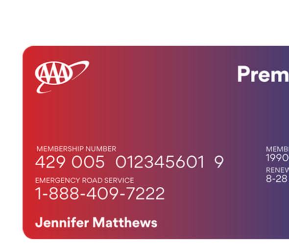 Example AAA Premier travel benefits card