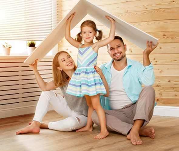 a family plays house in their home covered by AAA Home Insurance