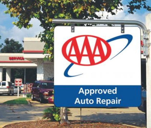 location of a AAA approved auto repair shop sign