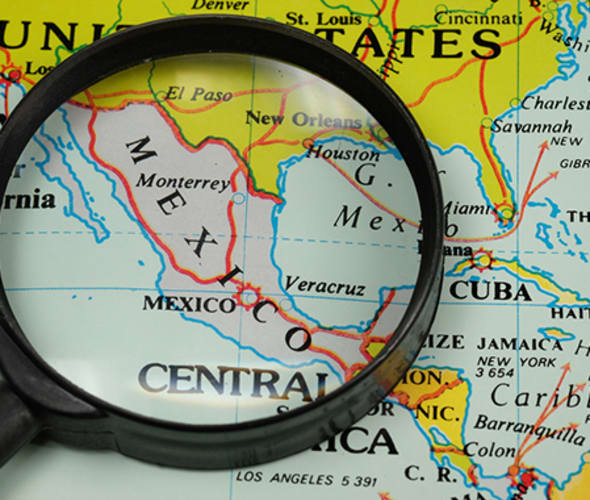 map of mexico with magnifying glass