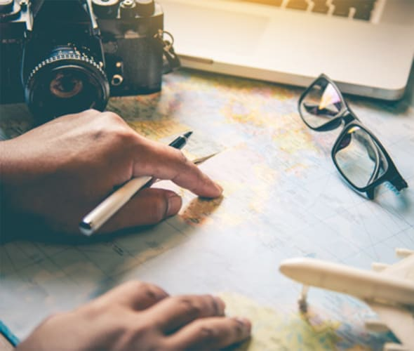 Example travel planning guides and maps