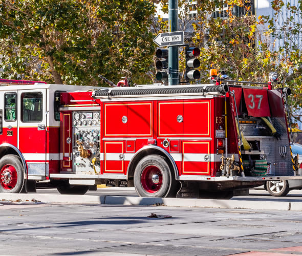 A fire trucked stopped in San Francisco.