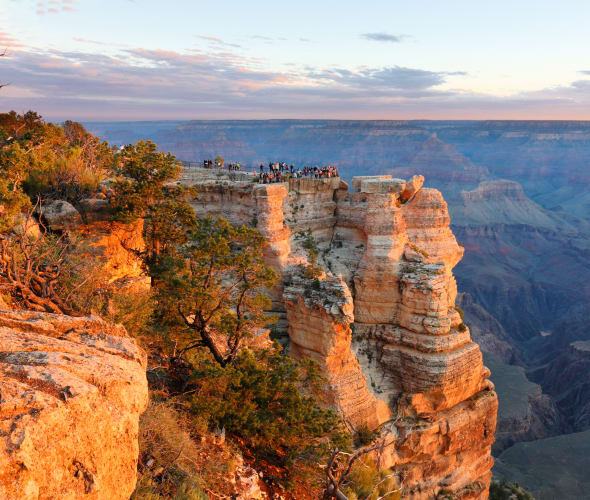 Sunrise at the South Rim's Mather Point in the Grand Canyon National Park.