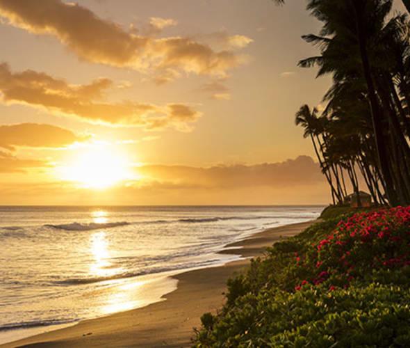 Kaanapali beach at sunset on Maui, Hawaii