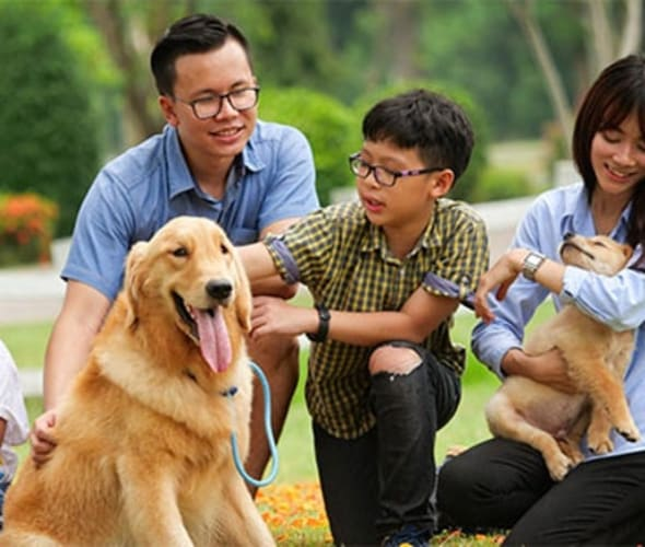 A family with AAA insurance enjoys time together with their dog