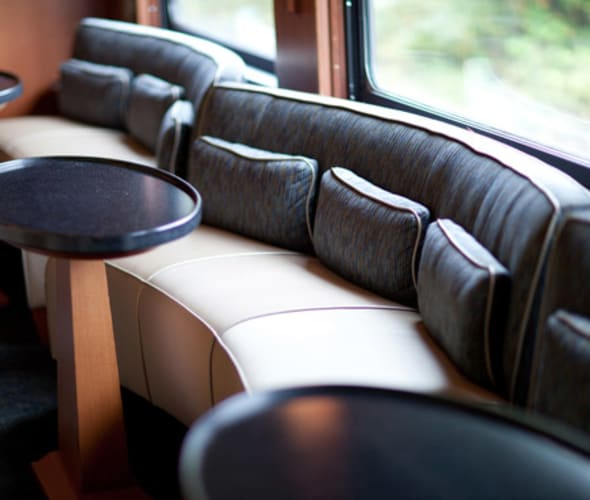 lounge car on the rockies to the red rocks journey
