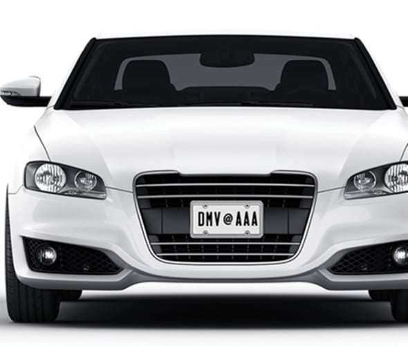 white car with AAA DMV plates