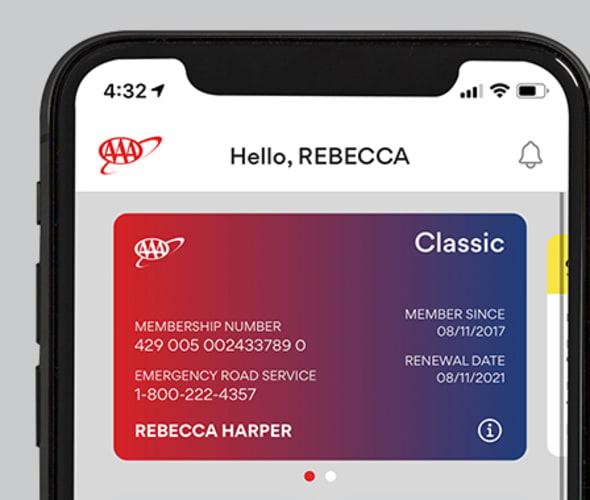 AAA app Membership card