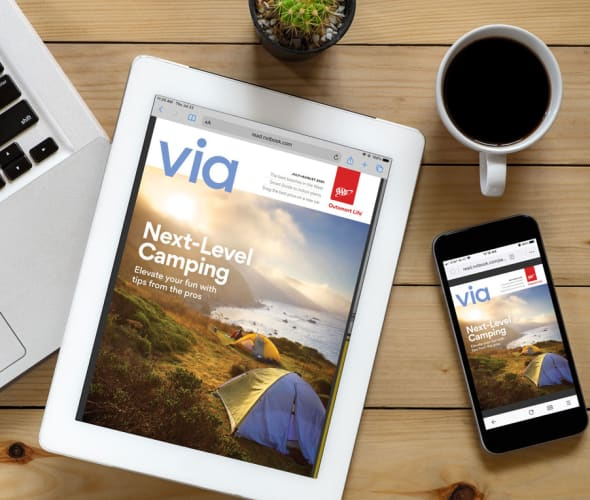 Via Magazine July/August digital magazine cover on a tablet and phone.