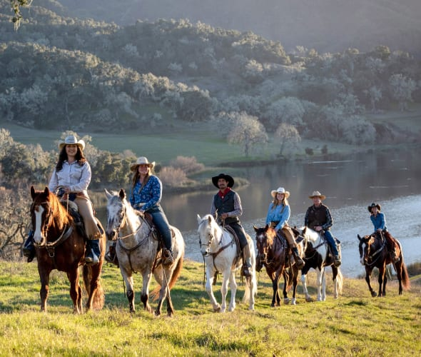A group of  horseback riders from The Alisal Guest Ranch & Resort.