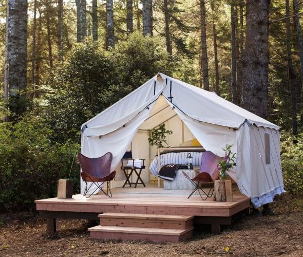 Mendocino glamping tent.
