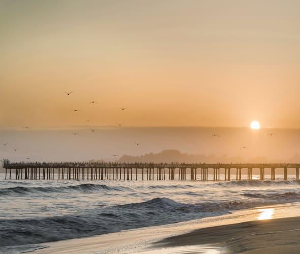 Seacliff State Beach at sunset.