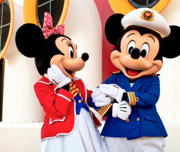 see mickey mouse and minnie mouse on a disney cruise line ship
