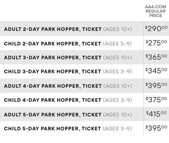 disneyland park hopper ticket prices chart
