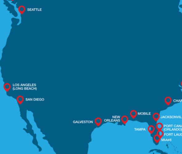 carnival cruise line homeport map