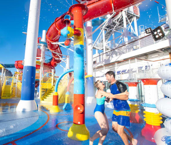 carnival cruise line guests at waterworks aqua park