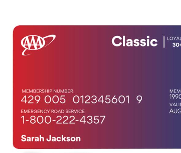 Example of a AAA Classic membership card
