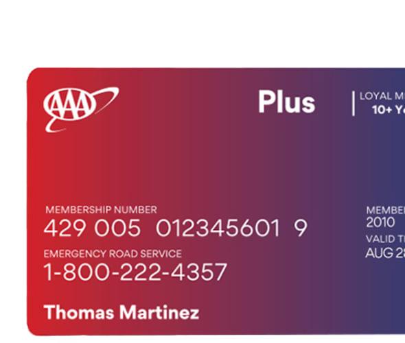 Example of a AAA Plus membership card