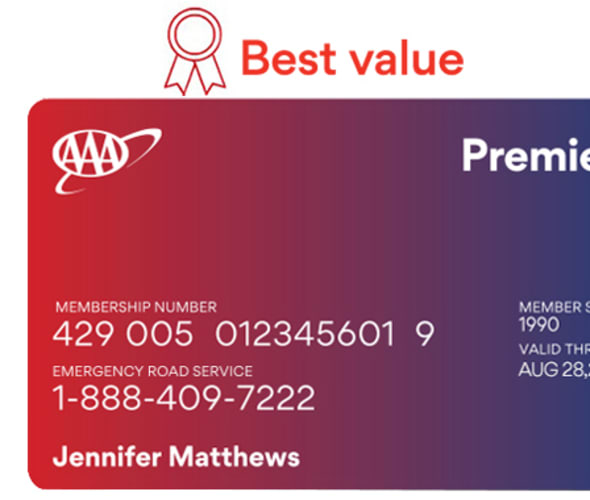 Example of a AAA Premier membership card