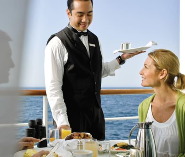 silversea cruises butler serving breakfast