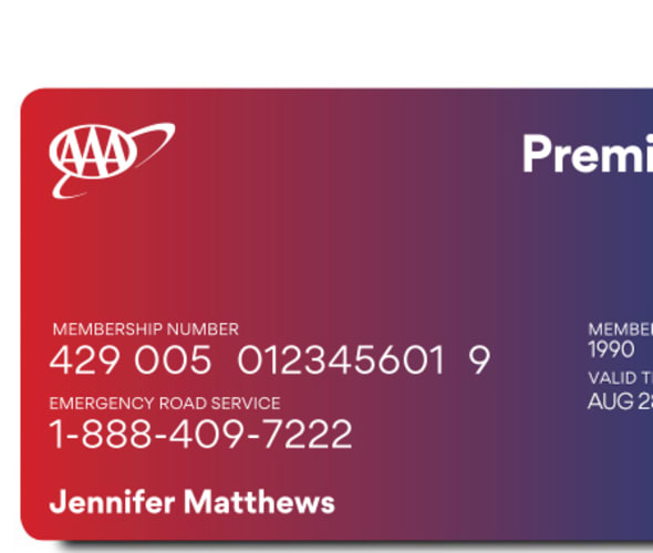 AAA premier Membership card.