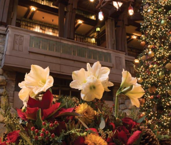 holiday decorations at disney grand california hotel