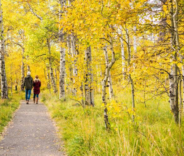 A couple walks Taylor Creek Trail in South Lake Tahoe, California.