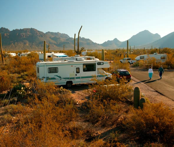 An RV parked at a campsite at Gilbert Ray Campground in Tucson Mountain Park.