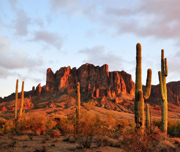 Fiery-red Superstition Mountains in Arizona.