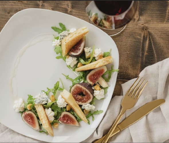 Pair with Dead Oak blue cheese salad with blue cheese mousse, windrose farms greens, dehydrated corn, brioche and truffle honey.